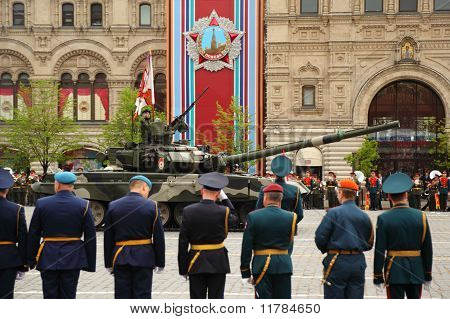Main Battle Tank T-90 And Soldiers Participate In Rehearsal