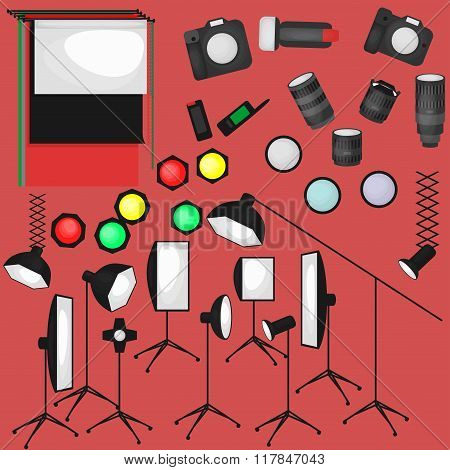 Set of photo studio equipment, paper photo background, light soft flat icons,  flash, reflector, sof