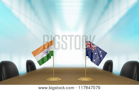 India and Australia relations and trade deal talks 3D rendering