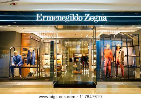 HONG KONG - JANUARY 27, 2016: shopwindow of Ermenegildo Zegna store. Ermenegildo Zegna is an Italian luxury fashion house that makes men's clothing and accessories.
