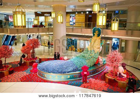 HONG KONG - JANUARY 27, 2016: inside of Elements Shopping Mall. Elements is a large shopping mall located on 1 Austin Road West, Tsim Sha Tsui, Kowloon, Hong Kong