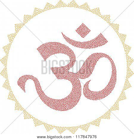 Aum (Om) The Holy Motif Stipple Effect Raster Illustration