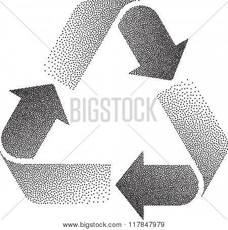 Recycle Stipple Effect Raster Illustration