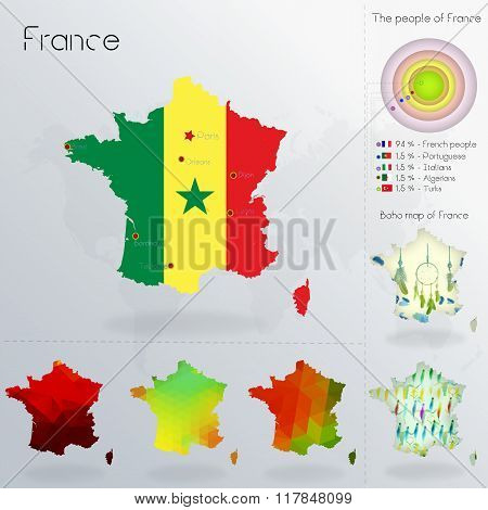 Modern Geometric And Political Map Of France. Senegalese People Immigration To France. Senegalese Pe