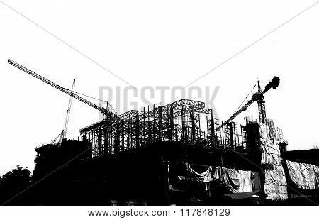 Silhouette Crane Building