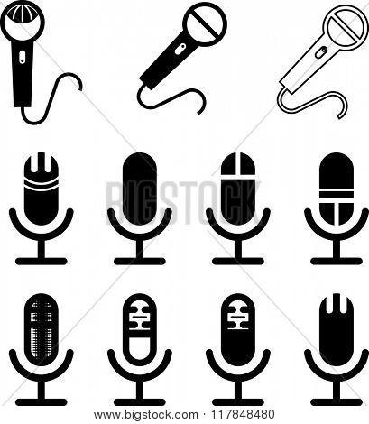 Microphone Icon Symbol Raster Illustration