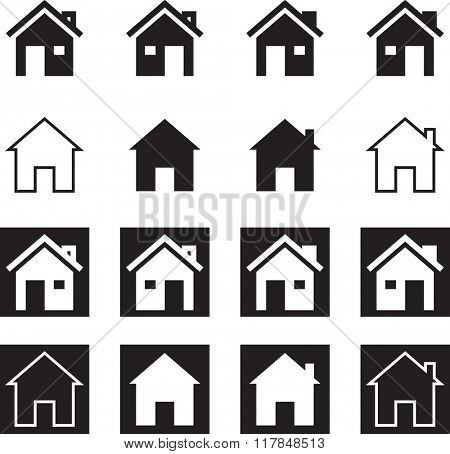 Home Icon Symbol Raster Illustration