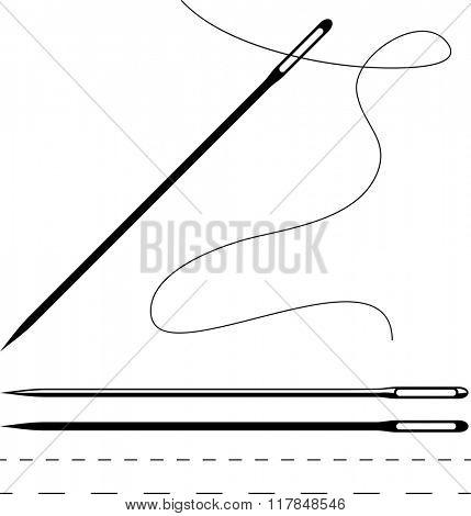 Sewing Needle Symbol Raster Illustration