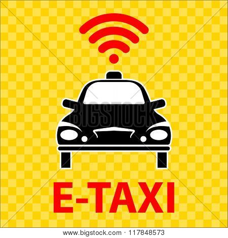 E-Taxi Wi-Fi Icon Symbol Raster Illustration