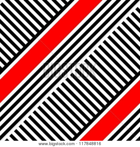 Seamless Diagonal Stripe Pattern. Vector Black and Red Background