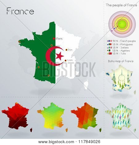 Modern Geometric And Political Map Of France.  Algerian People Immigration To France.  Algerian Peop