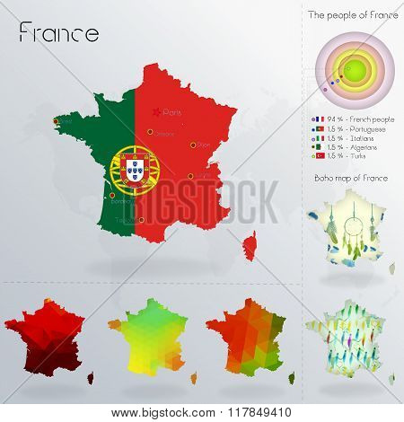 Modern Geometric And Political Map Of France.  Portuguese People Immigration To France. Portuguese P