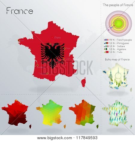 Modern Geometric And Political Map Of France. Albanians People Immigration To France. Albanians Peop