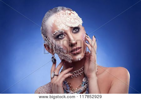 Woman With Fashion Beauty Make Up On Face