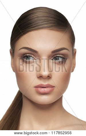 Woman With Natural Make Up On White Background