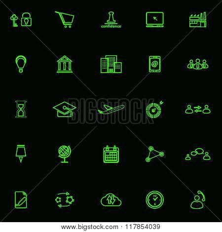 Business Connection Green Line Icons