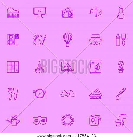 Art Activity Pink Line Icons