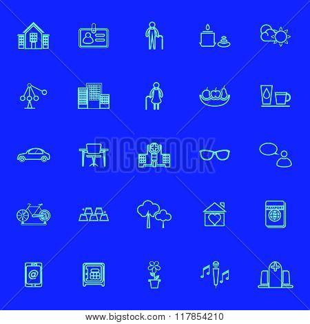 Retirement Community Blue Line Icons