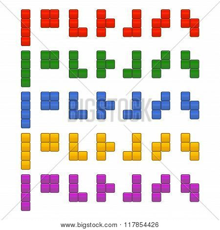 Tetris Bricks Pieces Total Set for Game. Vector