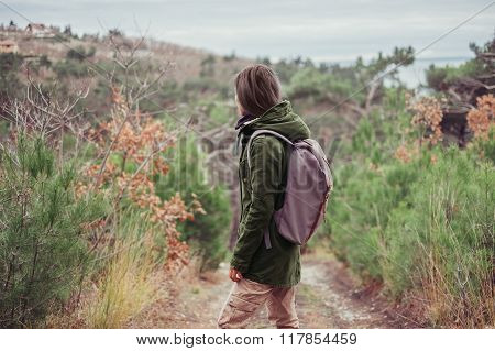 Hiker Girl Walking Outdoor