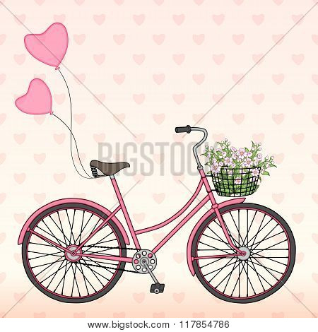 Bicycle with balloons and a basket full of flowers.