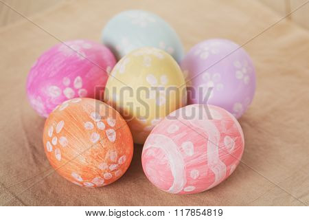 handpainted easter eggs on table
