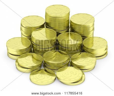 Gold Dollar Coins Stack Isolated On White
