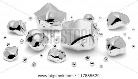 Shiny Metal Nuggets Closeup