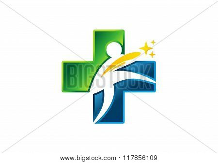 Medicine people health icon, cross logo, plus nature symbol,healthy vector design