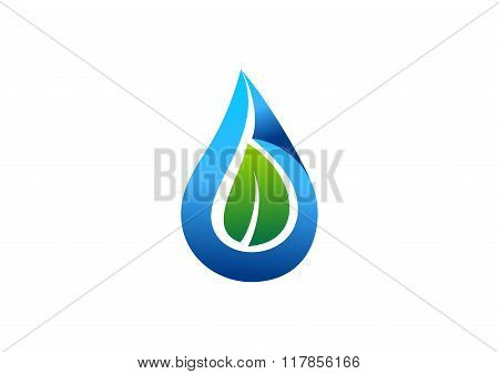 water drop leaf logo,water plant nature ecology logotype symbol icon vector design