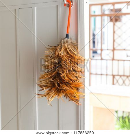 Feather Duster On White Door
