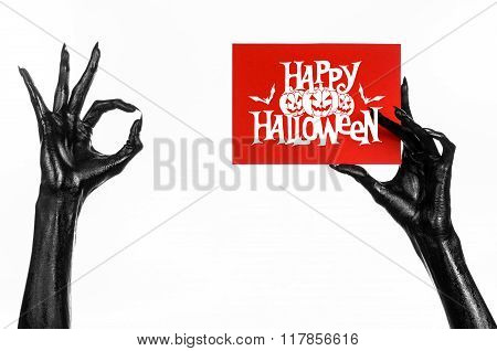 Postcard and Happy Halloween theme