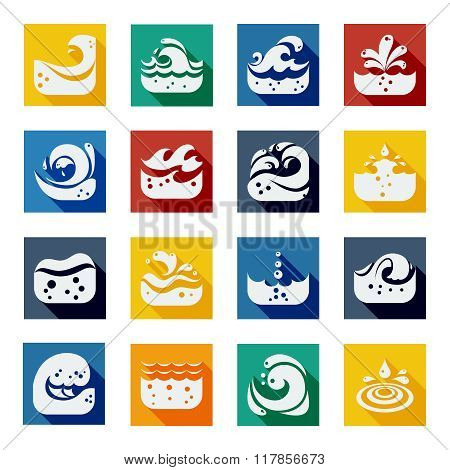 Swirling Wave Color Icons Set
