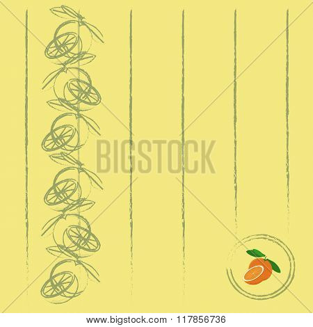 Pale yellow background with a khaki fruit outlines oranges, cut the Orange, green leaves