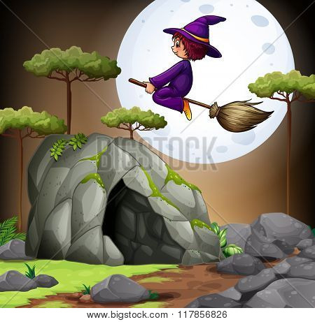 Witch flying over the cave illustration