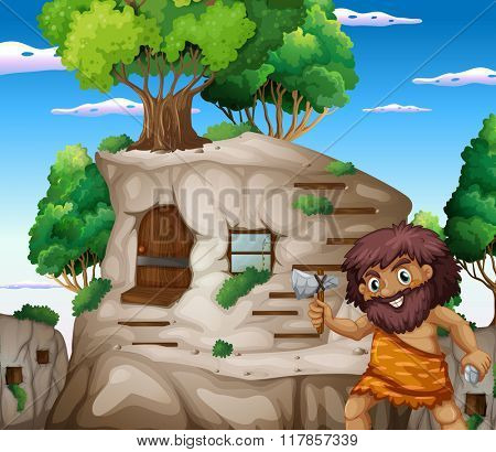 Caveman with axe living in the stonehouse illustration
