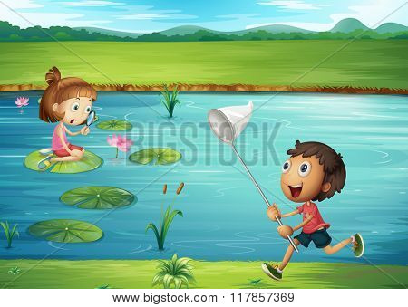 Boy and girl playing by the pond illustration