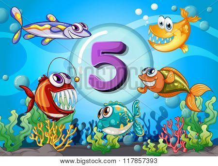 Flashcard number 5 with 5 fish underwater illustration