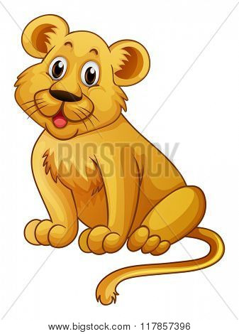 Little lion with happy face illustration
