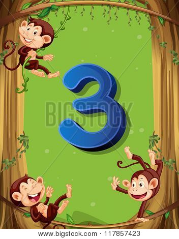 Number three with 3 monkeys on the tree illustration