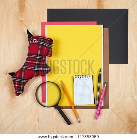 Flat lay office tools and supplies. Stationery on wood background. Flat design of workspace, workplace. Top view of desk background.