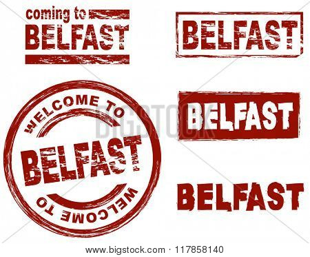 Set of stylized ink stamps showing the city of Belfast
