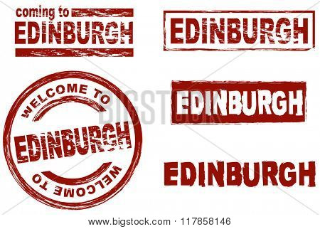 Set of stylized ink stamps showing the city of Edinburgh