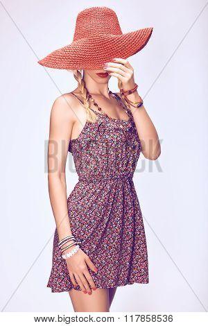Hippie boho playful woman in hat.Relax, having fun