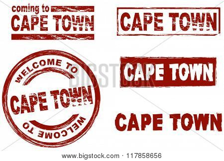 Set of stylized ink stamps showing the city of Cape Town