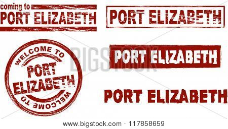 Set of stylized ink stamps showing the city of Port Elizabeth