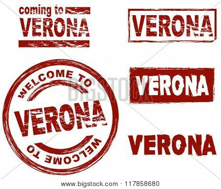 Set of stylized ink stamps showing the city of Verona