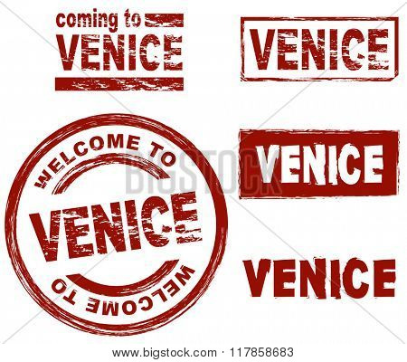 Set of stylized ink stamps showing the city of Venice