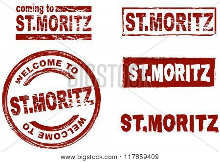 Set of stylized ink stamps showing the city of St. Moritz
