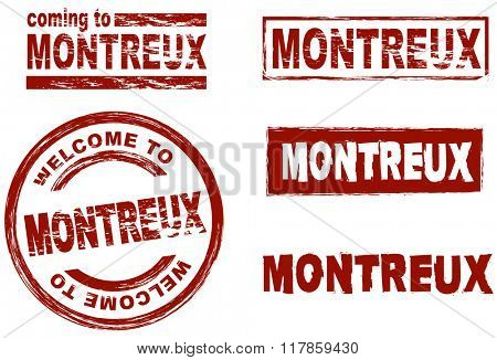 Set of stylized ink stamps showing the city of Montreux